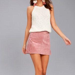Lulu's Mauve Pink Suede Mini Skirt Sz M ✨